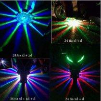 Đèn gầm xe máy 12 tia màu xanh, đỏ, vàng, tím, trắng
